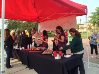 Staff enjoy coffee and muffins in the quad