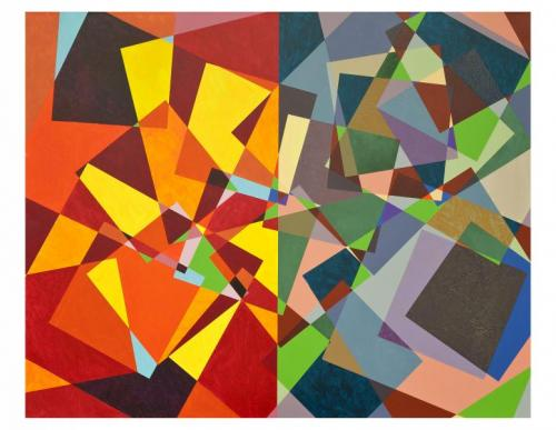 Colorful abstract painting with overlapping geometric shapes