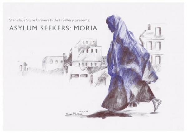 Drawing by Hamed Soltani showing a profile view of a woman walking and wearing a cloak with destroyed buildings in the background