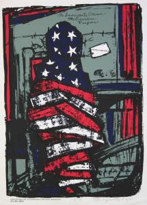 Print of a human figure wrapped in an American flag