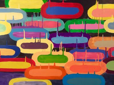 Colorful abstract painting with several oblong shapes and dripping paint