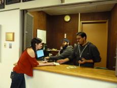 students working the ticket box
