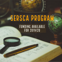 "Picture of a book, globes, maginfying glass, and pen with the caption ""SERSCA Program funidng available for 2019-20"