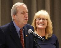 Award winner Tara Ribeiro with Dr. Sheley