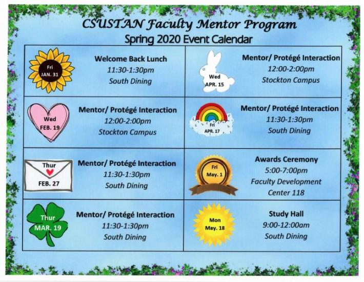 A Jpeg document indicating the calendar of activities organized by the faculty mentor program. Below the information that appears on the image.