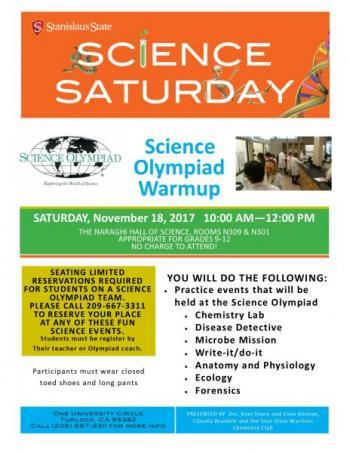 Science Saturday; Science olympiad Warmup