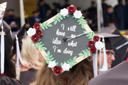 "Commencement mortarboard says ""I still have no idea what I'm doing."""