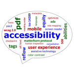 Words in a bubble that describe accessibility compliance