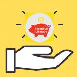 Financial Literacy: piggybank in hand