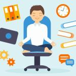 Artwork of person meditating in an office environment.