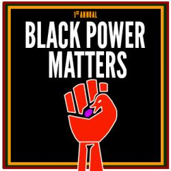 "Sankofa Fist with the words ""black power matters"" above"