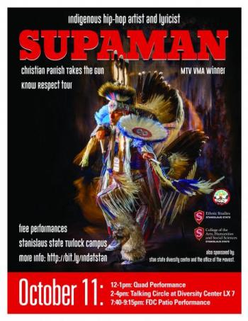 Portrait picture of Supaman/Christian Takes the Gun Parrish in Indigenous attire with performance dates