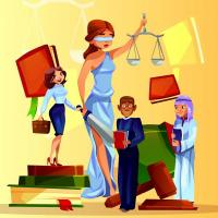 cartoon graphic of legal workgroup members
