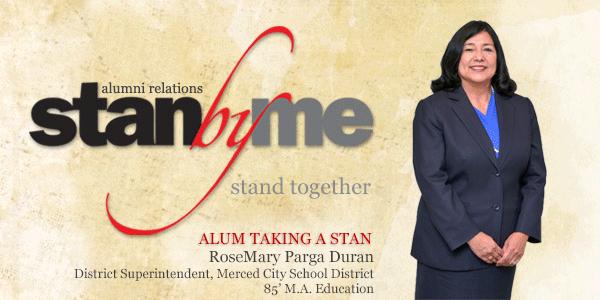 Stanbyme Alumni News Header.  RoseMary Para Durgan, District Superintendent, Merced City School District, 85' M.A. Education