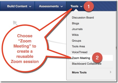 Select the Tools menu, and then choose Zoom Meeting