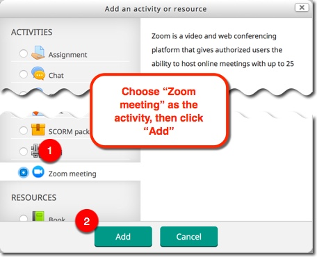 """Select """"Zoom meeting"""" in the list of activities and then click the """"Add"""" button"""