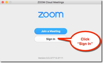 Zoom sign-in screen