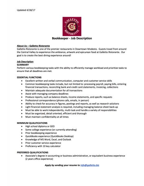 bookkeeper position - Job Description Of Business Administration
