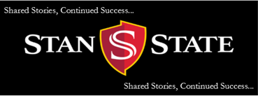 "Black background with words ""Share stories, continued success Stan State"""
