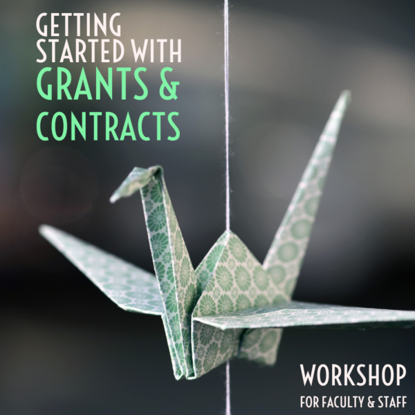 Image of paper bird with text getting started with grants and contacts