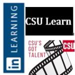 CSU Learn, LinkedIn, CSU's Got Talent logos