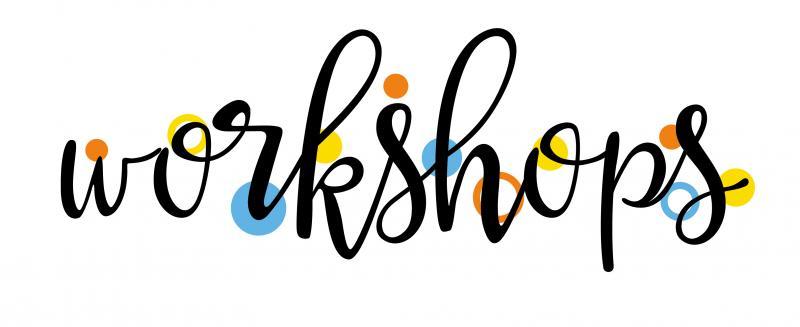 the word workshop in cursive font