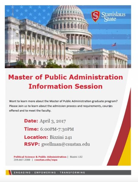 Flyer for April 3rd MPA Info Session
