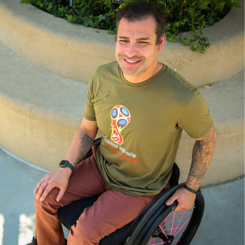 Abel Vera in his low profile manual wheelchair