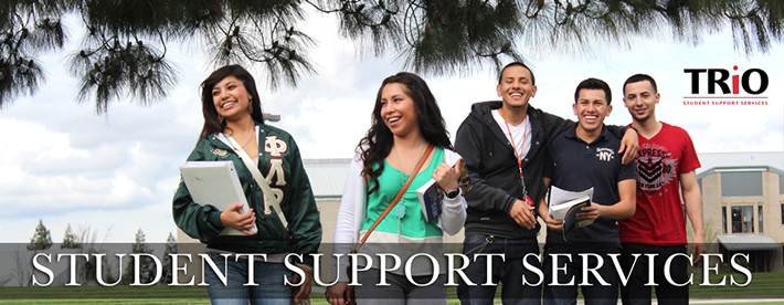 image of students on campus smiling with text Student support services