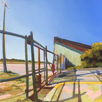 Oil painting of an airplane in a yard surrounded by a fence