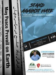 Stand Against Hate, Turlock Community Event with Congressman Josh Harder, April 24th 2019