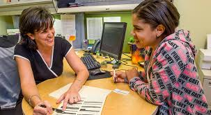 Student working with advisor