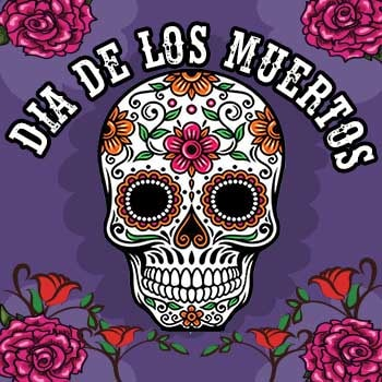 Day of the dead flyer with roses in all four corners and the skull has pink and orange flowers throughout the skull