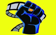 film background with power fist and film