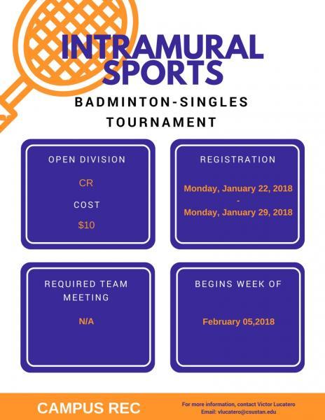 intramural sport badmiton-singles tournament