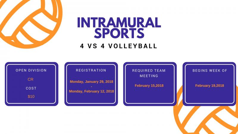 intramural sports 4 vs 4 volleyball