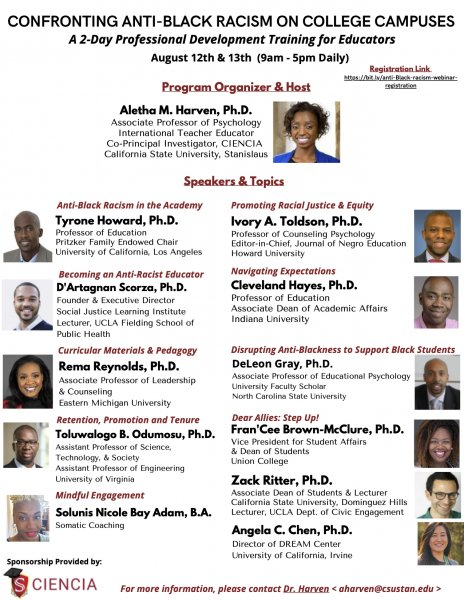 """flyer for """"Confronting Anti-Black Racism on College Campuses"""" training"""