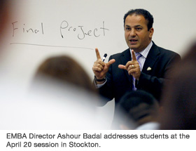 EMBA Director Ashour Badal addresses students at the April 20 session in Stockton