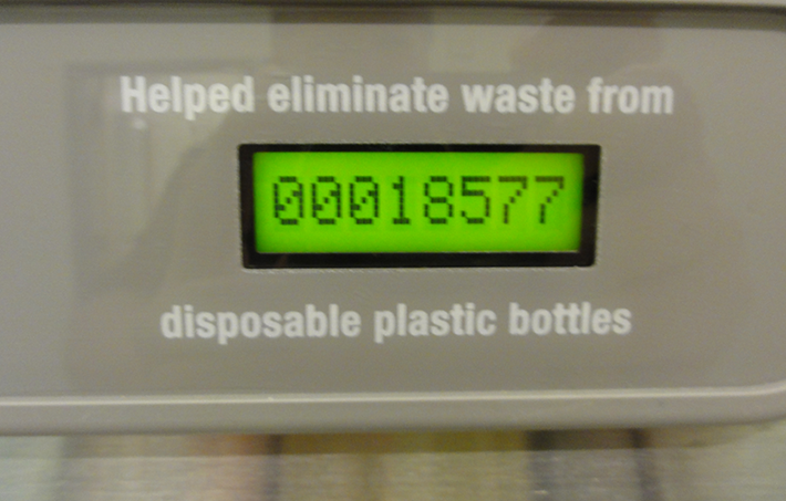 meter on drinking water fountain shows at this station alone, 18,577 bottles have been reused